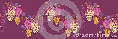 Sweet grape vines horizontal seamless pattern wave