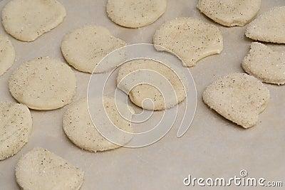 Sweet homemade cookies on a baking sheet Stock Photo