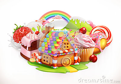 Sweet house. Confectionery and desserts, vector illustration Vector Illustration