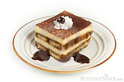 Sweet Italian Layered Tiramisu on Dessert Plate