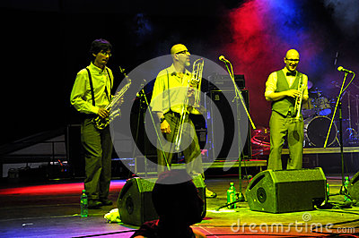 The Sweet Life Society band from Italy performs live on the stage Editorial Photography