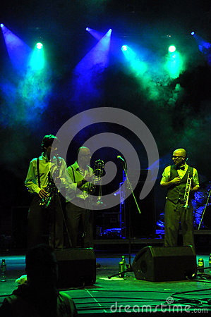 The Sweet Life Society band from Italy performs live on the stage Editorial Stock Photo