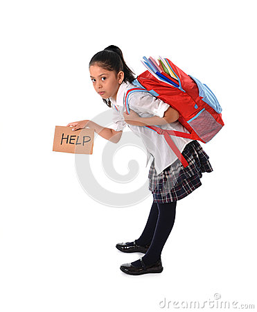 Free Sweet Little Girl Carrying Very Heavy Backpack Or Schoolbag Full Of School Material Stock Images - 44238294