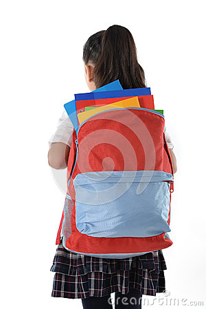 Free Sweet Little Girl Carrying Very Heavy Backpack Or Schoolbag Full Of School Material Royalty Free Stock Image - 44238306