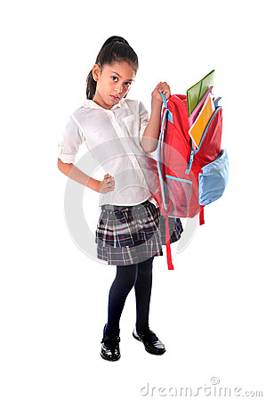 Free Sweet Little Girl Carrying Very Heavy Backpack Or Schoolbag Full Of School Material Royalty Free Stock Photos - 44238318