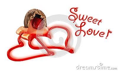 Sweet love hearts and cherry chocolate