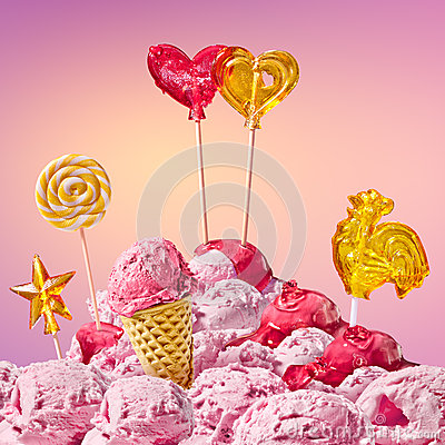 Free Sweet Magical Landscape With Candy Heart Stock Images - 48698234