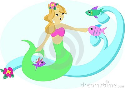 Sweet Mermaid with Fish