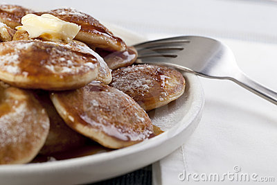 Sweet Mini Pancakes and Syrup