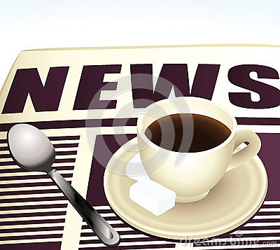 Sweet morning coffee reading news.