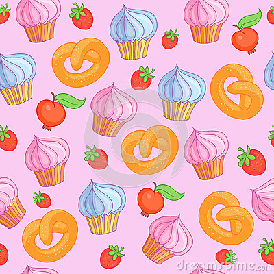 Sweet pattern cakes on pink background. Seamless. Vector Illustration
