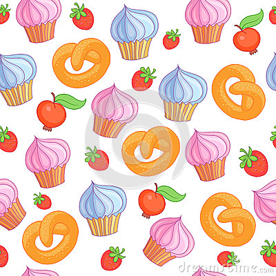 Sweet pattern cakes on white background. Seamless. Vector Illustration