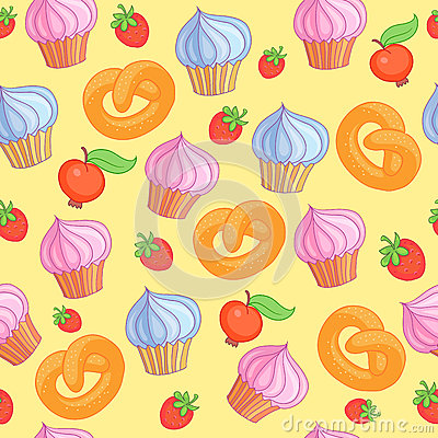 Sweet pattern cakes on yellow background. Seamless. Vector Illustration