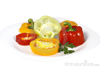 Sweet pepper slices on a plate