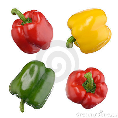 Free Sweet Peppers Isolated On White Royalty Free Stock Image - 14115476