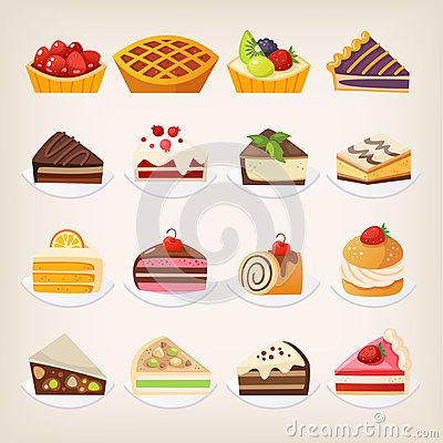 Sweet pies and cakes desserts. Vector Illustration