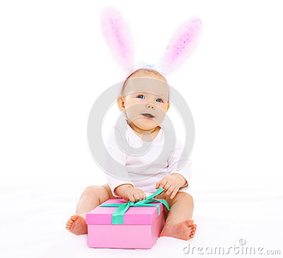 Free Sweet Pink Baby Sitting In Costume Easter Bunny With Fluffy Ears Stock Images - 53865124