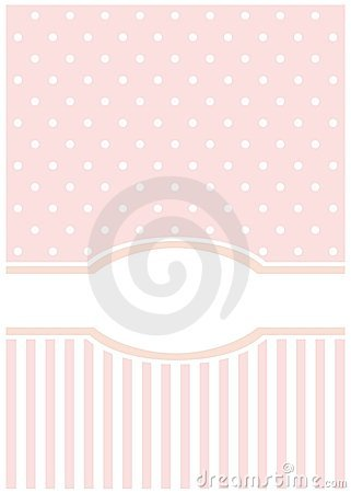 Sweet, pink card or invitation; white polka dots
