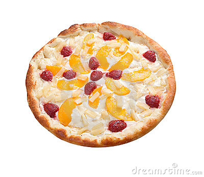 Sweet pizza with fruit,