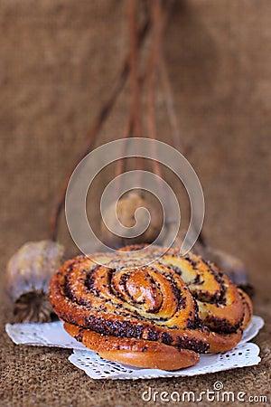 Sweet poppy buns old sack art background