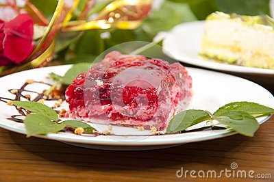 Sweet raspberry and strawberries dessert
