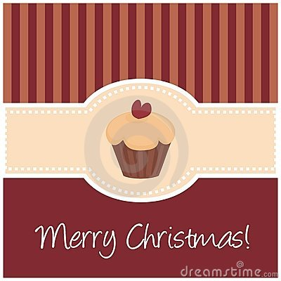 Sweet retro christmas card with muffin cupcake