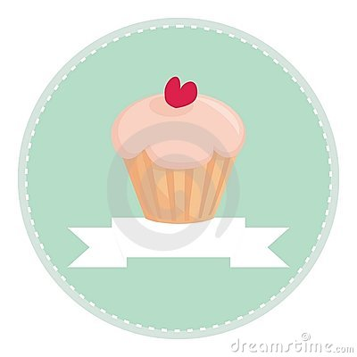 Sweet retro cupcake with heart and place for text