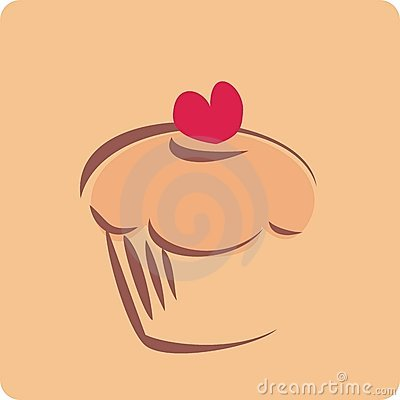 Sweet retro cupcake silhouette with heart
