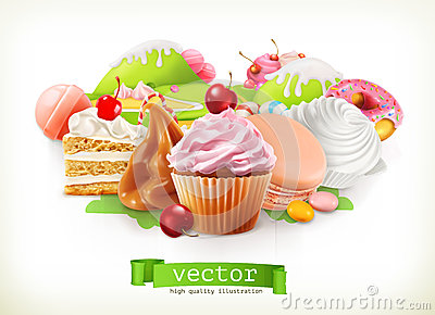 Sweet shop. Confectionery and desserts, cake, cupcake, candy, caramel. Vector illustration Vector Illustration
