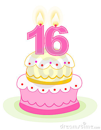 Clip  Birthday Cake on Sweet Sixteen Birthday Cake With Numeral Candles Isolated On White