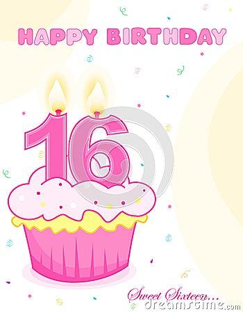 Sweet sixteen birthday cake /greeting