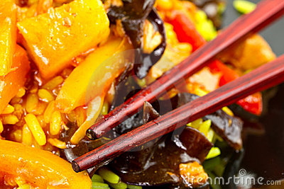 Sweet and sour chicken close up