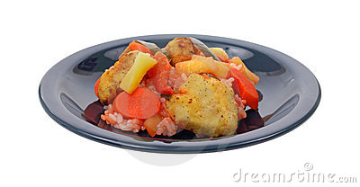 Sweet and sour chicken on dish