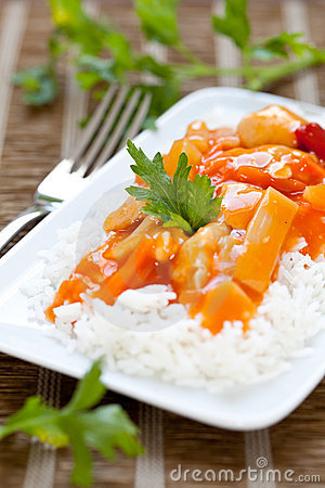 Sweet sour chicken with rice
