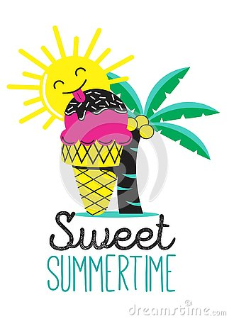 Sweet summer time with ice-cream Stock Photo
