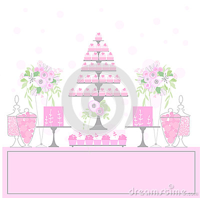 Sweet Table With Cupcakes Stock Vector Image 71758192