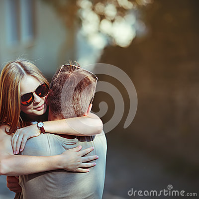 Free Sweet Teen Couple Embracing At Street. Stock Photo - 34256000