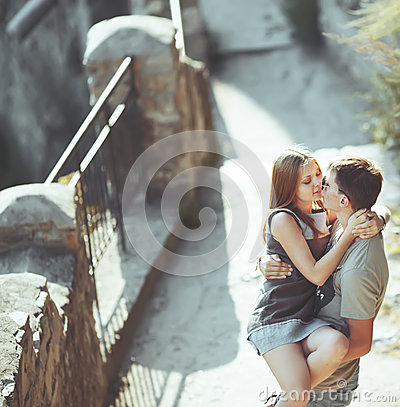 Free Sweet Teen Couple Embracing At Street. Royalty Free Stock Images - 34553559