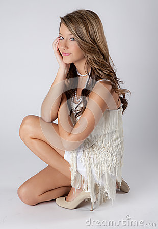 Sweet teen in fringe dress stock image image 34814861 - Fresh teen girls ...