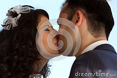 Sweet wedding kiss