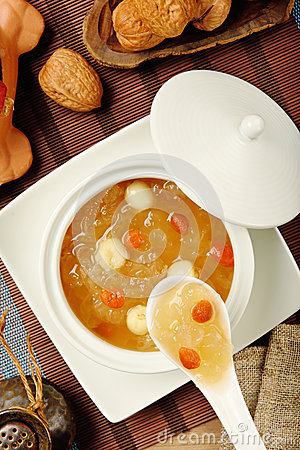 Free Sweet White Fungus And Lotus Seeds Soup Royalty Free Stock Image - 60131816