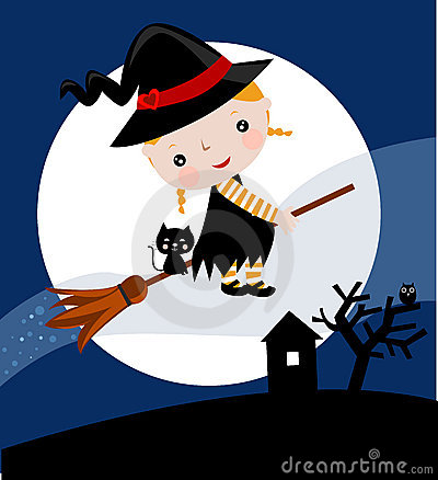 Sweet witch on a broom