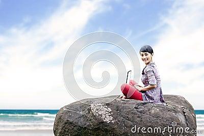 Sweet woman working outdoor