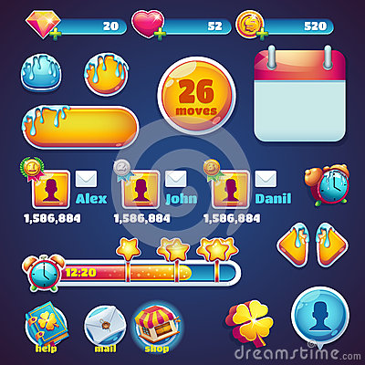 Free Sweet World Mobile GUI Set Elements Web Games Stock Image - 63159081