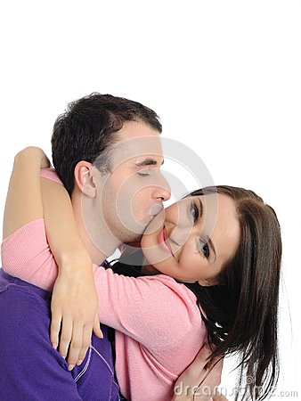 Sweet young couple in love kissing