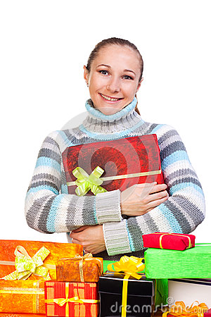 Sweet young girl with christmas present