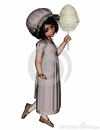 Young Vintage Girl With Long Dress And Candy Floss Her Hand She #3