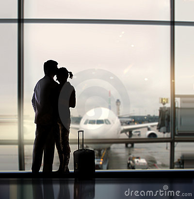 Free Sweethearts In Airport Royalty Free Stock Photos - 13075258