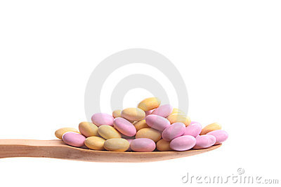 Sweeties on a wooden spoon