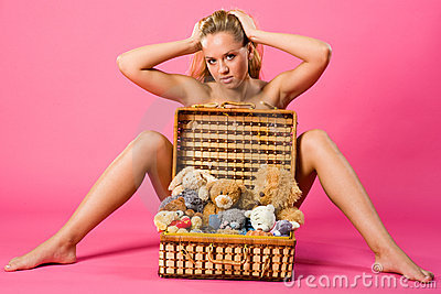 Sweetness blond with box of teddies